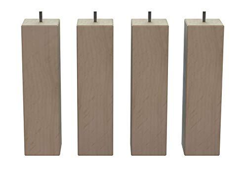 MegaluxFrance Set mit 4 Füßen für Bett, Möbel, Sofa, quadratisch aus Massivholz (Buche) 80 x 80 x 300 mm