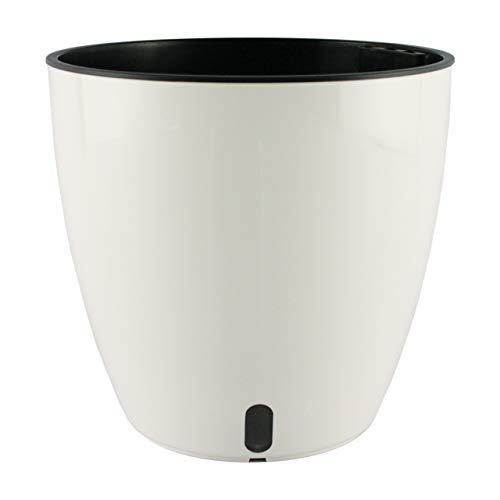 Smart Garden Maceta autorregable AQ1817 Decorativa Redonda Centro de Mesa - Pequeña Moderna Interior - Autorriego Inteligente - Beige - Plástico ABS Anti UV (18cm de diámetro x 17cm de Alto)