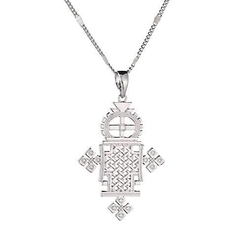 YHHZW Collar Collar De Cruz De Color Plateado Etíope, Cruces Coptas, Joyería De Cadena para Mujer, Chapado En Plata