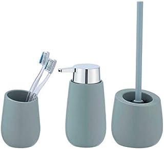 Set Accessoires Salle de Bain, gobelet Brosse à dent, Distributeur Savon Liquide, Brosse WC, Céramique, Badi, Bleu Gris Mat