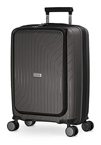 HAUPTSTADTKOFFER - TXL - Bagaglio a mano leggero con compartimento per laptop, Trolley rigido in robusto polipropilene, Valigia Cabina 55 cm, 40 L, serratura TSA, Graphite