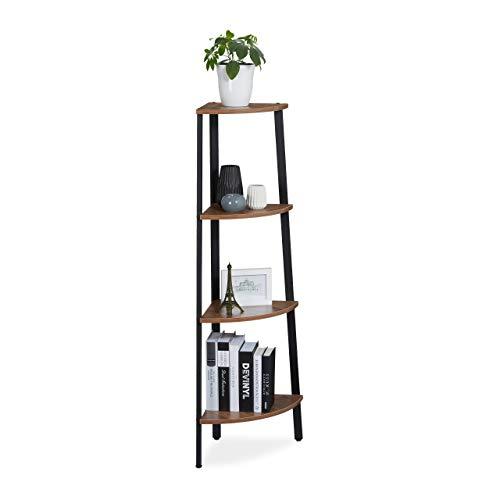 Relaxdays Hoekrek, staand, voor keuken, hal & woonkamer, vintage design, ladderkast, HBT: 125x48x32 cm, zwart/bruin, 1 stuk