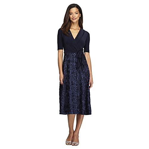 Alex Evenings Women s Tea Length Dress with Rosette Detail (Petite and Regular)  Navy Tie Front  16