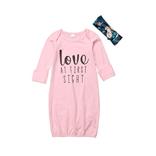 Infant Baby Girls Gowns Love at First Sight Print Sleepwear Nightgowns Mitten Cuffs Sleeper Gowns with Headband (0-6M, Pink)