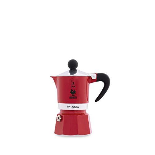 Bialetti Rainbow Espressokocher, Aluminium, Rot, 1 Tasse