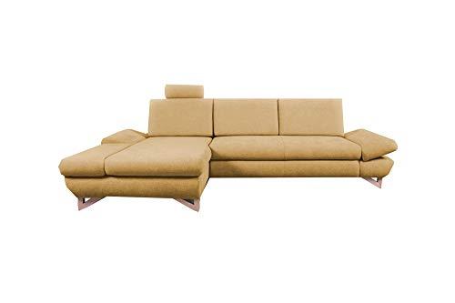 mb-moebel Ecksofa mit Schlaffunktion Eckcouch mit Bettkasten Sofa Couch L-Form Polsterecke Merida (Gelb, Ecksofa Links)