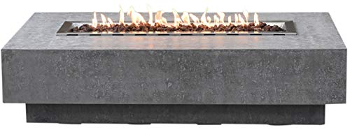Elementi Hampton Outdoor Table 56 Inches Fire Pit Patio Heater Concrete Firepits Outside Electronic Ignition Backyard Fireplace Cover Lava Rock Included, Natural Gas