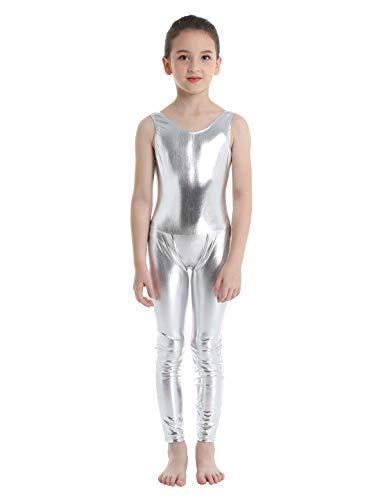 inlzdz Mailot de Ballet para Niñas 3-14 Años Mono de Gimnasia Brillante Pantalones Largos Leotardo Elástico Jumpsuit Ropa de Actuación Traje de Bailarina Plateado 8-10 Años