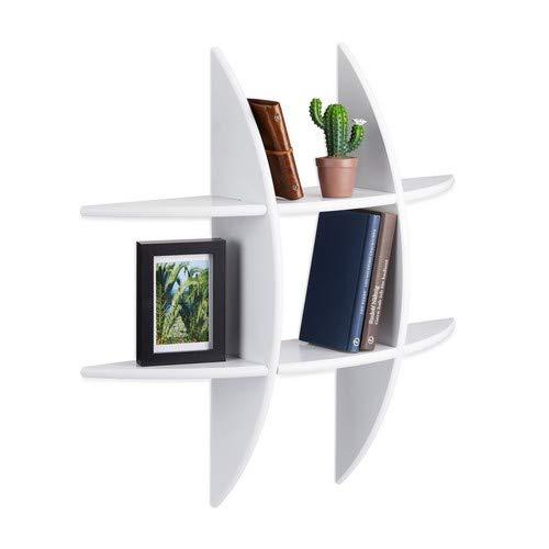 Relaxdays Ronde wandrek met 6 vakken, 17 cm diep, hangrek, decoratie, CD-rek, zwevende plank, wit