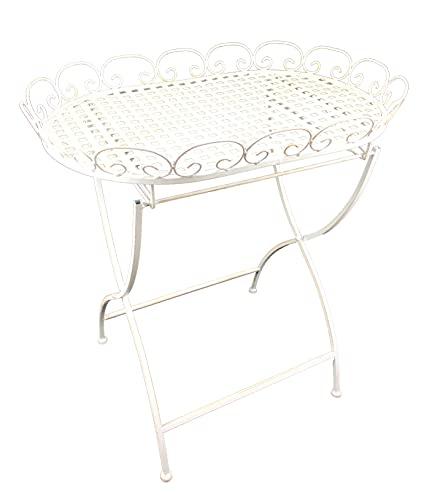 Stehtablett Beistelltisch aus Metall – Tisch klappbar für Indoor und Outdoor 'Calla' weiß