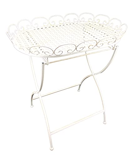 Stehtablett Beistelltisch aus Metall – Tisch klappbar für Indoor und Outdoor'Calla' weiß