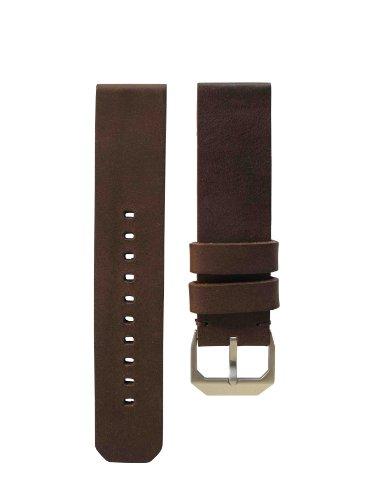 slow - Dark Brown Vintage Leather Strap, Silver Buckle