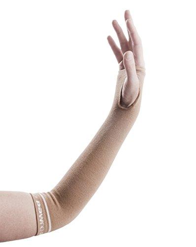 DJMed Arm Skin Protectors – Protective Arm Sleeves, for Sensitive Skin, Help Protect from Tears & Bruising – Pair, Tan (Medium)