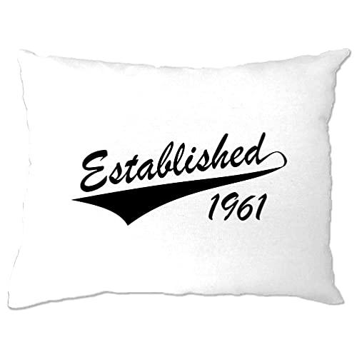 Funda de almohada de 60 cumpleaños establecida en 1961, regalo de fiesta de 60 años, color blanco y talla única