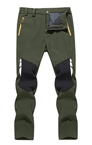 MAGCOMSEN heren Softshell waterdichte broek winter warme ademende outdoor broek dikker fleece voering voor wandelen skiën broek