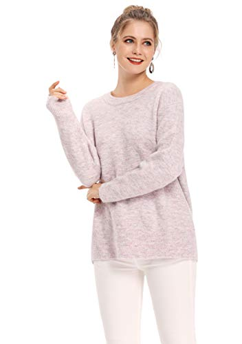 QUALFORT Women's Purple Crew Neck Sweater Loose Lightweight Knit Soft Long Sleeve Lavender Jumper Pullover X-Large