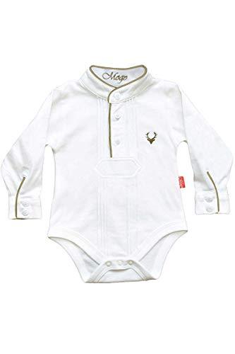 Mogo Baby - Jungen Babybody Pfoad-Hemd weiß braun, WEIß/BRAUN, 62/68