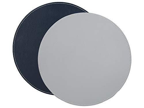 Creative Tops - Set di 4 tovagliette rotonde, in finta pelle, colore: grigio/nero, 29 cm, colore: Grigio
