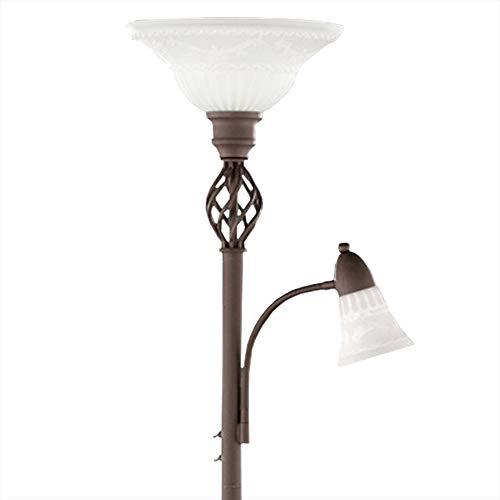 Deckenfluter in klassischem Design - Höhe 180 cm, inkl. Leuchtmittel + Ersatzleuchtmittel
