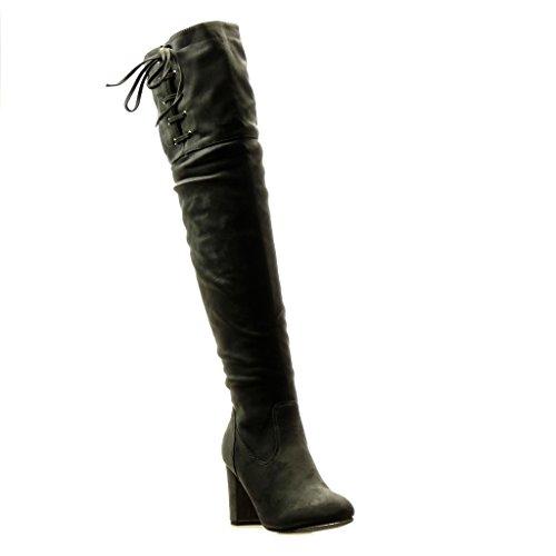 Angkorly - Damen Schuhe Oberschenkel-Boot Stiefel - Reitstiefel - Kavalier - Sexy - Flexible - Knoten - Spitze Blockabsatz high Heel 8.5 cm - Grau H656 T 36