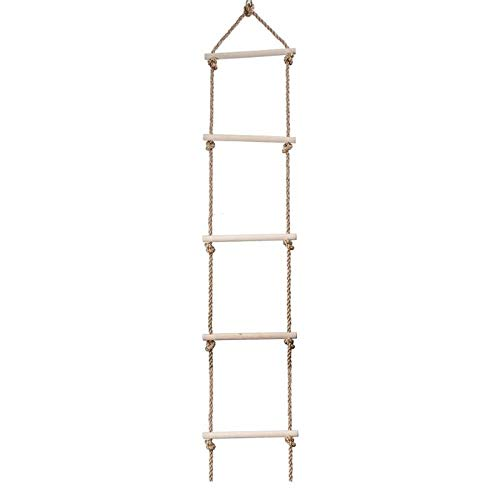 Wooden Rope Ladder Multi Rungs Climbing Game Toy Kids Fitness Toy Outdoor Training Activity Safe Sports Rope Swing Swivel Rotary (Size : 5 rungs swing)