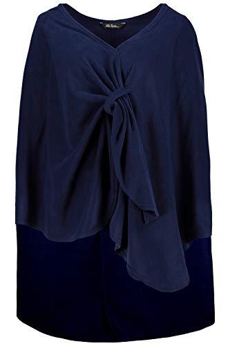 Ulla Popken Damen große Größen | Homewear-Poncho | Fleecestoff | Schlaufenverschluss | Druckknopf | dunkelblau 42-48 716645 71-1+