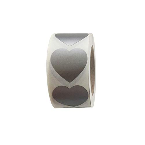 1Roll/300Pcs Heart-Shape Scratch Off Labels Stickers 1 Inch Self-Adhesive Scratch Label for Wedding Birthday Party Game Gifts Crafts (Silver)