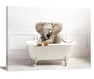 Elephant Wall Art Bathroom Decor Wall Art Elephant Bathing In The Bathtub Wall Decor Bathtub Wall Decor Funny Artworks Home Decor For Living Room Bedroom Office 16x24inch No Frame