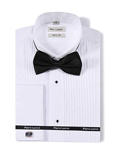 Piero Lusso Men's Wingtip Collar Tuxedo Dress Shirt with French Cuffs and Bow Tie White