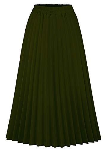 CHARTOU Womens Chic Elastic High Waisted A Line Leopard Print Pleated Shirring Midi-Long Skirt (Army Green, X-Small)