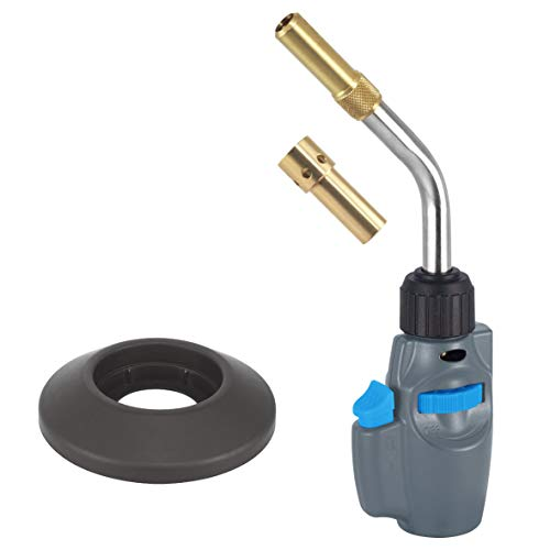 BLUEFIRE MRAS-8098 Trigger Start Torch Head Nozzle,High Intensity Up to 2430°F,Free Cylinder Base,Propane MAPP MAP Gas,Welding Brazing Soldering,Plumbing HVAC (Two Tips Torch Kit)