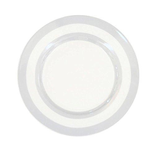 Krasilnikoff - Teller/Kuchenteller/Dessertteller - Streifen - Hellgrau - Ø 20 cm