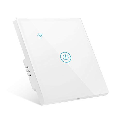 Gobesty Smart Lichtschalter, 1 Weg Wlan Lichtschalter Alexa Wifi Lichtschalter kompatibel mit Google Home Smart Life, Smart Alexa Wechselschalter mit Timging-Fuction Überlastungsschutz, ohne Hub