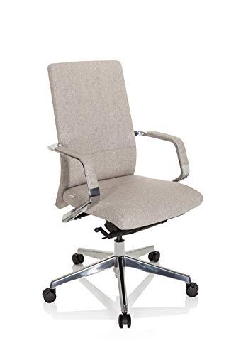 hjh OFFICE 601007 Profi Bürostuhl BESSONA Stoff Beige Designer Drehstuhl mit Armlehnen, Sitztiefe verstellbar, ergonomisch