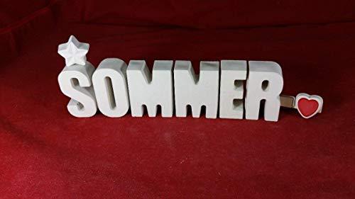 Beton, Steinguss Buchstaben 3D Deko Namenszug Sommer fertig als Geschenk verpackt mit der BIB Herzklammer! Ein ausgefallenes Geschenk zum Geburtstag.