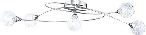 Globo plafondlamp chroom, glazen bollen helder met aluminium kogelvlechtwerk, bal ø : 9 cm, L x B x H: 750 x 450 x 150, inclusief 6xG9 33W 230 V 56624-5