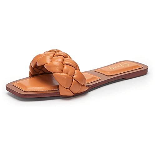 SKYWPOJU Sandalias Planas con Punta Cuadrada Abierta para Mujer, Zapatillas de Playa con Punta Abierta y Acogedoras, Zapatos Planos sin Cordones para Mujer (Color : Orange, Size : 37)