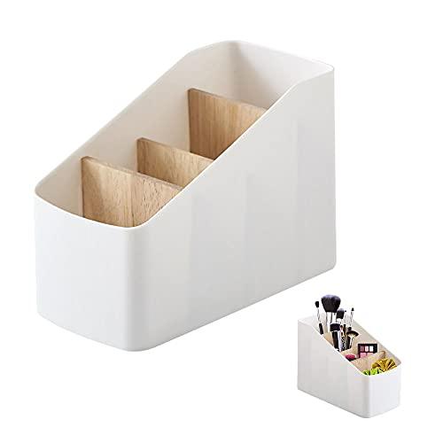 Holz Desktop Organizer, mit 4 Fächern Schreibtisch-Aufbewahrungsbox, Holz Desktop Aufbewahrungsbox, Bambus Tisch Organizer, für Brillen, Smartphones, Controller, CDs