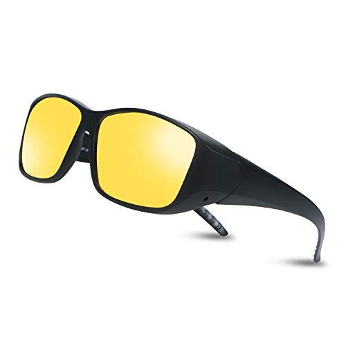 Occffy Herren und Damen Nachtsichtbrille zum Autofahren, Anti Glanz Polarisiert Gewidmet Nachtbrille Für Brillenträger geeignet Oc3308 (DY022 Schwarzer Mattrahmen mit gelber Linse)
