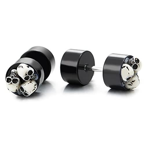 2 Negro Círculo Pendientes Aretes Incrustaciones Tres Blanco Acrílica Cráneo, Acero Enchufe Falso Cheater Plugs Gauges