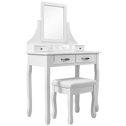 Meerveil Schminktisch mit Hocker, Frisierkommode Frisiertisch mit 3 Spiegel, 4 Schubladen, rutschfeste Aufkleber, Weiß (80 x 40 x 139 cm)