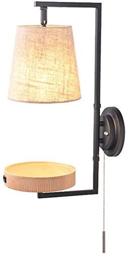Wlnnes Lámpara de Pared de Madera Creativa Simple E27 Dormitorio Lámpara de Pared de Noche con Bandeja de Madera Pantalla de Tela para Estudio Sofá de Sala de Estar
