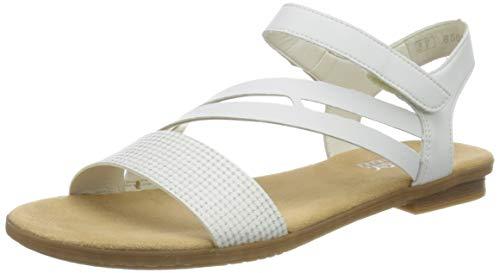 Rieker Damen Frühjahr/Sommer 64266 Geschlossene Sandalen, Weiß (Weiss-Silber/Weiss 80), 39 EU