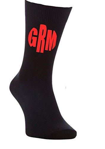 Sus iniciales nombre monograma 2do aniversario algodón regalo mens calcetines novio boda, Impresión en blanco., Talla única