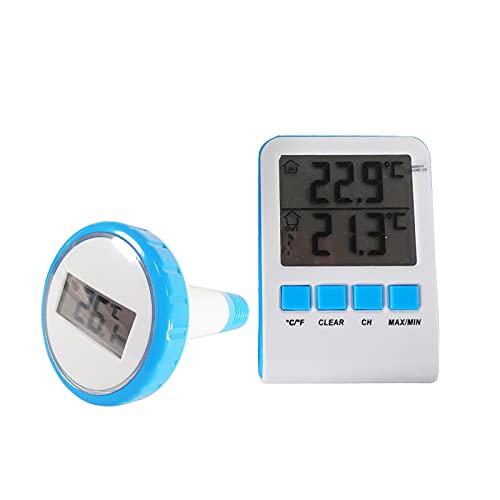 well2wellness® Digitales Funk Pool und Teich Thermometer Wasserthermometer mit LCD-Funk-Empfänger (1629BU)