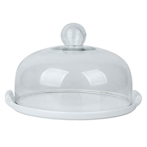 Hemoton 1 Unidades de cerámica bandeja de pastel con tapa de vidrio postre pantalla placa de postre cubierta de pastel para restaurante blanco
