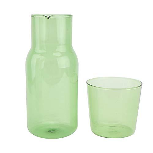 DOITOOL Juego de jarra y vaso de cristal para la noche, 500 ml, para la mesita de noche