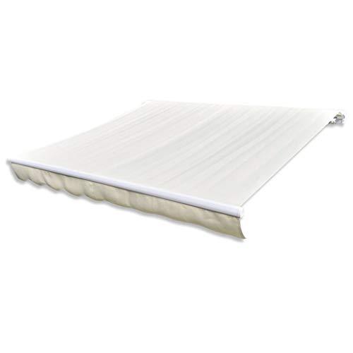 Festnight Canvas zonnescherm met luifel handmatig uitschuifbaar Handmatig zonnescherm met zonnescherm Tuinterras Gazebo Multi-streep met fittingen en slinger 6x3 m crème frame niet inbegrepen