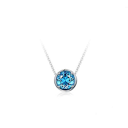 KnSam Collier Femme Fine Rond Topaze Bleu Naturelle 1.09ct Femme Simple Fantaisie, Or Blanc 18 Carats Élégance Cadeau Noël