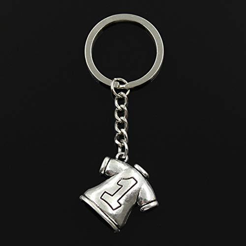 CSCZL 30mm Schlüsselring Metall Schlüsselbund Schlüsselbund Bronze versilbert Fußballtrikot 25x26mm Anhänger